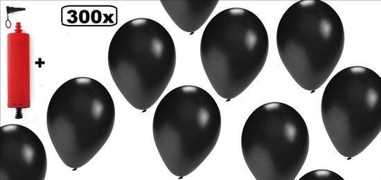 300x Ballonnen zwart met pomp - dark black and white begrafenis dood halloween uitvaart