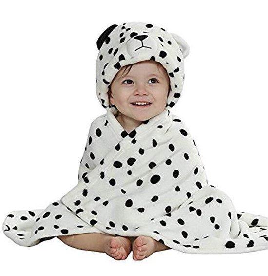 Baby deken | Fleece dekentje met kap | Mantel met capuchon | Badjas | Cape | Kraamcadeau voor jongens en meisjes | 92x86 cm | Luipaard