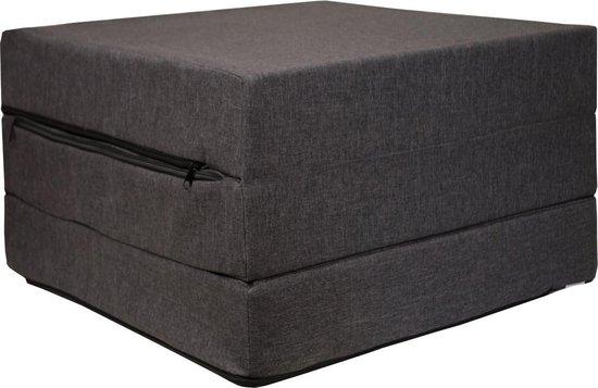 Logeermatras - donker grijs - opvouwbaar matras - 195 x 65 x 10