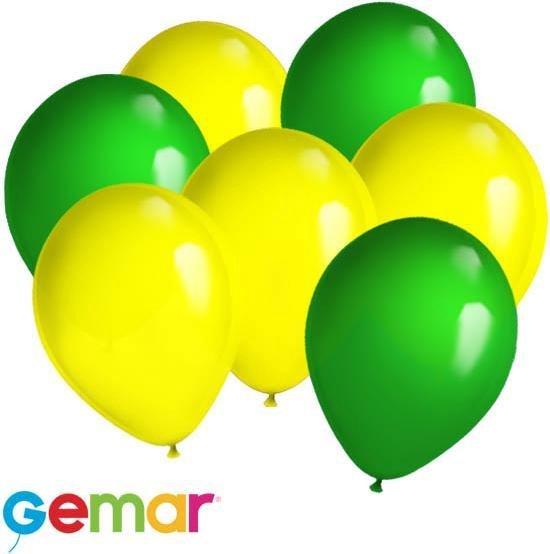 30x Ballonnen Geel en Groen (Ook geschikt voor Helium)