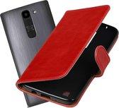 MP Case rood leder look hoesje voor LG K7 Booktype - Telefoonhoesje - smartphonehoesje - beschermhoes.