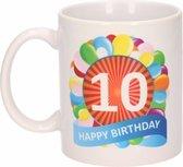 Verjaardag ballonnen mok / beker 10 jaar