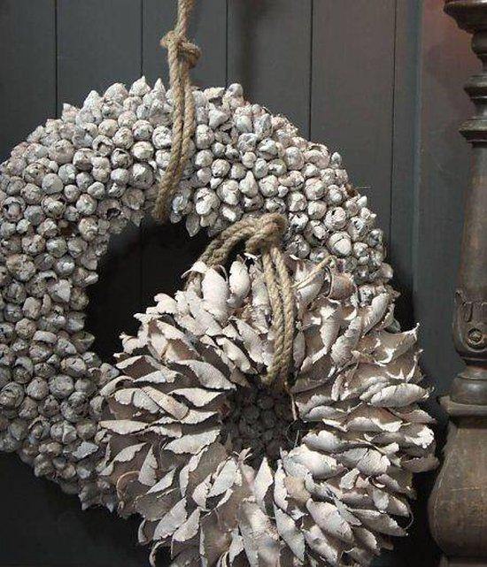 Brocante Restyle Krans Palmflower - white wash - Ø 40 cm