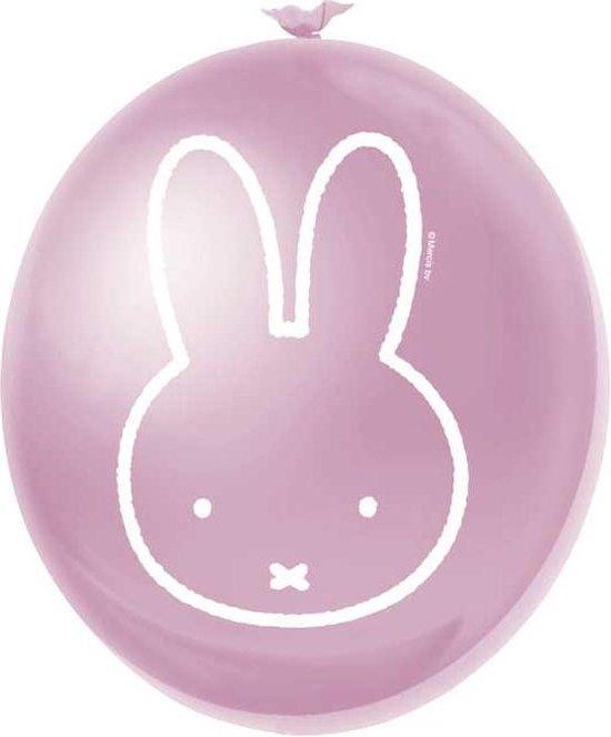 Roze Nijntje ballonnen - 30 cm - 6x stuks - Kinderfeestje artikelen & decoratie - Babyshower geboorte thema meisje