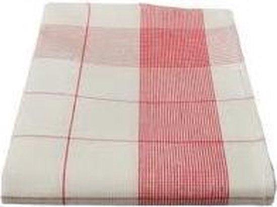 Treb Horecalinnen Glasdoeken - 70x70 cm - Wit met Rode Lijnen - Linnen en Katoen - 4 stuks