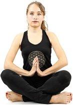 Yoga top - Flower of life - Zwart - Maat L