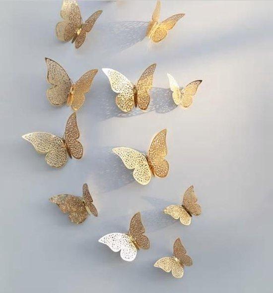 3D Gouden Vlinders - Muurstickers Van Gouden Vlinders - Unieke Decoratieve Muursticker muurvlinders Met 3D Effect - Set van 12 Stuks