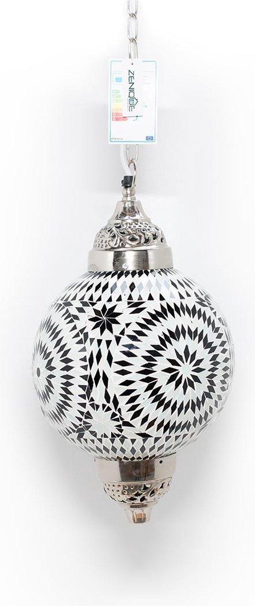 Super bol.com | Hanglamp - zwart - wit - glas - mozaïek - 25cm Ø - 1 x FT-27