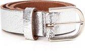 Tannery Leather Damesriem Metallic Zilver Leer 3cm Breed Maat 75 (XXS) Art. 30162