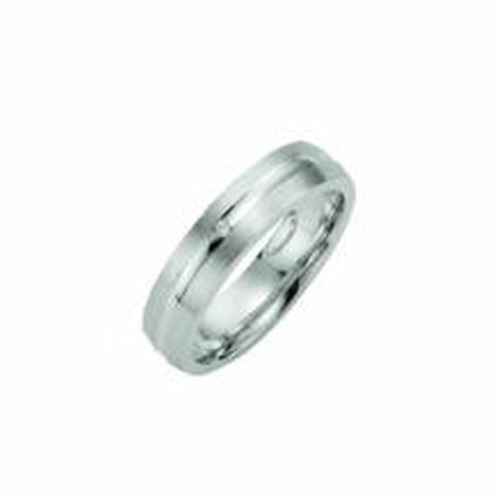 Kiss Me ring zilver mat met hoogglans lijn met diamant KM138 maat 54