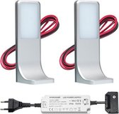 LED onderbouwverlichting keuken Tumba - keukenverlichting / verlichting keukenkastjes - 3,5W / touch / dimbaar / 230V / warmwit - set van 2 stuks