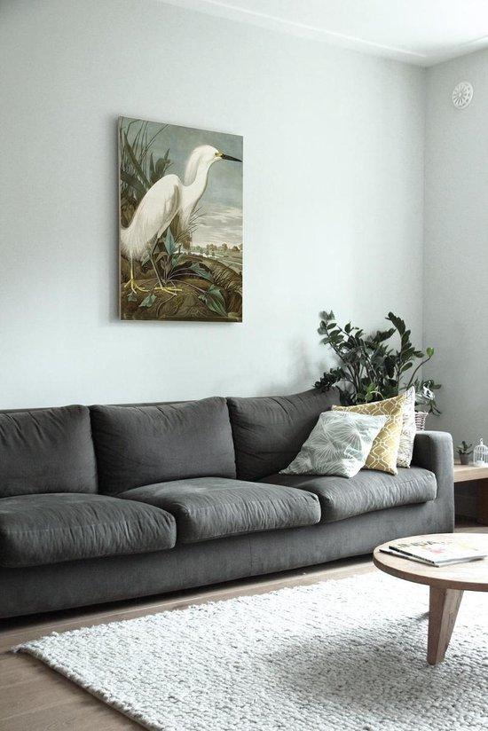 Houten paneel, snowy heron, KEK Amsterdam, large