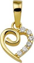 The Jewelry Collection Hanger Hart Zirkonia - Geelgoud