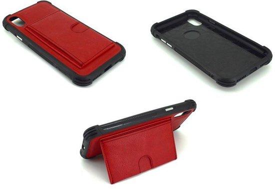 Atouchbo - Hard Back Cover voor Apple iPhone X - Leder Look - geschikt voor 1 pasje - Rood