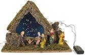 Kerststal hout met 6 figuren en verlichting (8298)