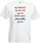 Mijncadeautje - T-shirt - wit - maat L - Alle mannen zijn gelijk - januari
