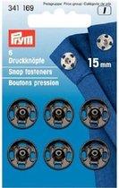 Prym Aannaai drukknopen 6 stuks 15 mm zwart