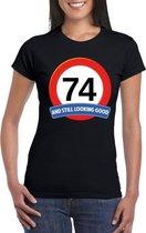 Verkeersbord 74 jaar t-shirt zwart dames XL