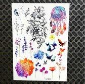 Plak Tattoos - Kleurrijke Metallic Tattoo - Body Choker - Tijdelijke Tatoeage - Festival Tatoes - Zomer feest tatoeage's - Tattoo - 1 vel Flower Power