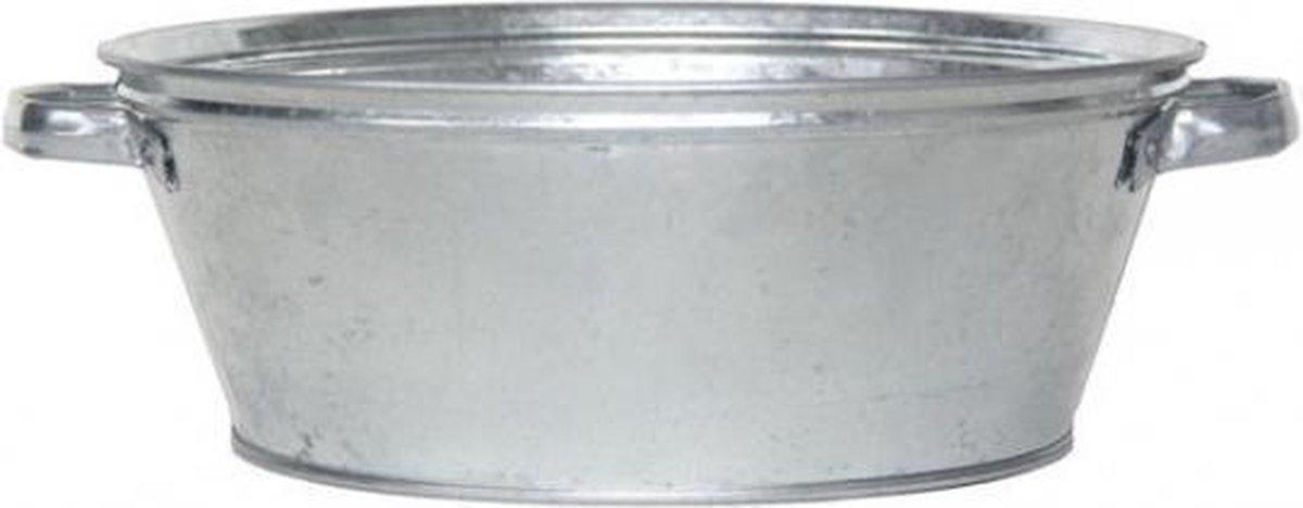 Ronde zilveren zinken teil 9 liter - Merkloos