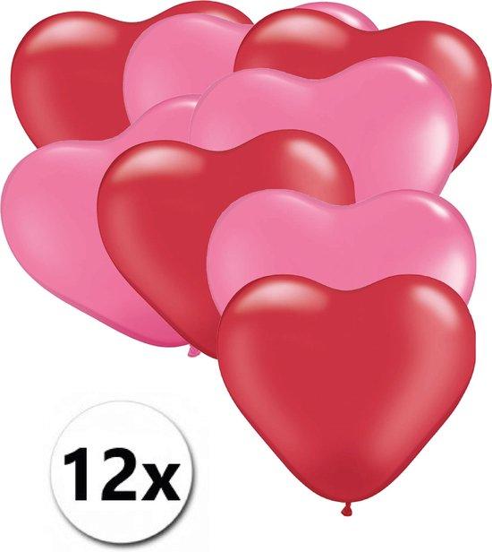 Ballonnen Hart Rood & Roze 12 stuks 26 cm