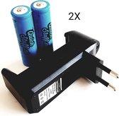 2x Quickstuff 18650 batterijen plus oplader COMBIPACK