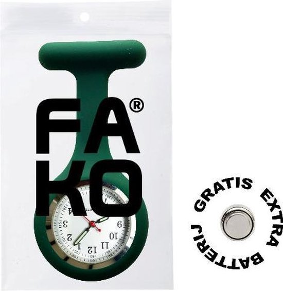 Fako® - Verpleegstershorloge - Zusterhorloge - Siliconen RVS Lumi - Donkergroen - Fako®