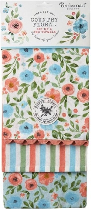 Theedoek (Per 3st.) Country Floral