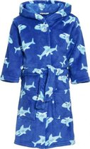 Kinder badjas blauw met haaien 122/128 (7-8 jr)