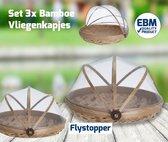 Voedselkap - Vliegenkapjes bamboe set 3 stuks - Flystopper