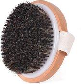 Professionele Dry brush voor de gevoelige huid - paardenhaar - anti-cellulitis - Incl. opbergtas
