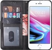 Apple iPhone 7 Hoesje Bookcase Zwart en Apple iPhone 8 Hoesje Bookcase Zwart en Apple iPhone SE 2020 Hoesje Bookcase Zwart Wallet Case Portemonnee Book Case Hoes Cover