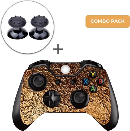 Golden Waves Combo Pack – Xbox One Controller Skins Stickers + Thumb Grips