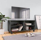 Tv-meubel met wieltjes 90x35x35 cm spaanplaat grijs