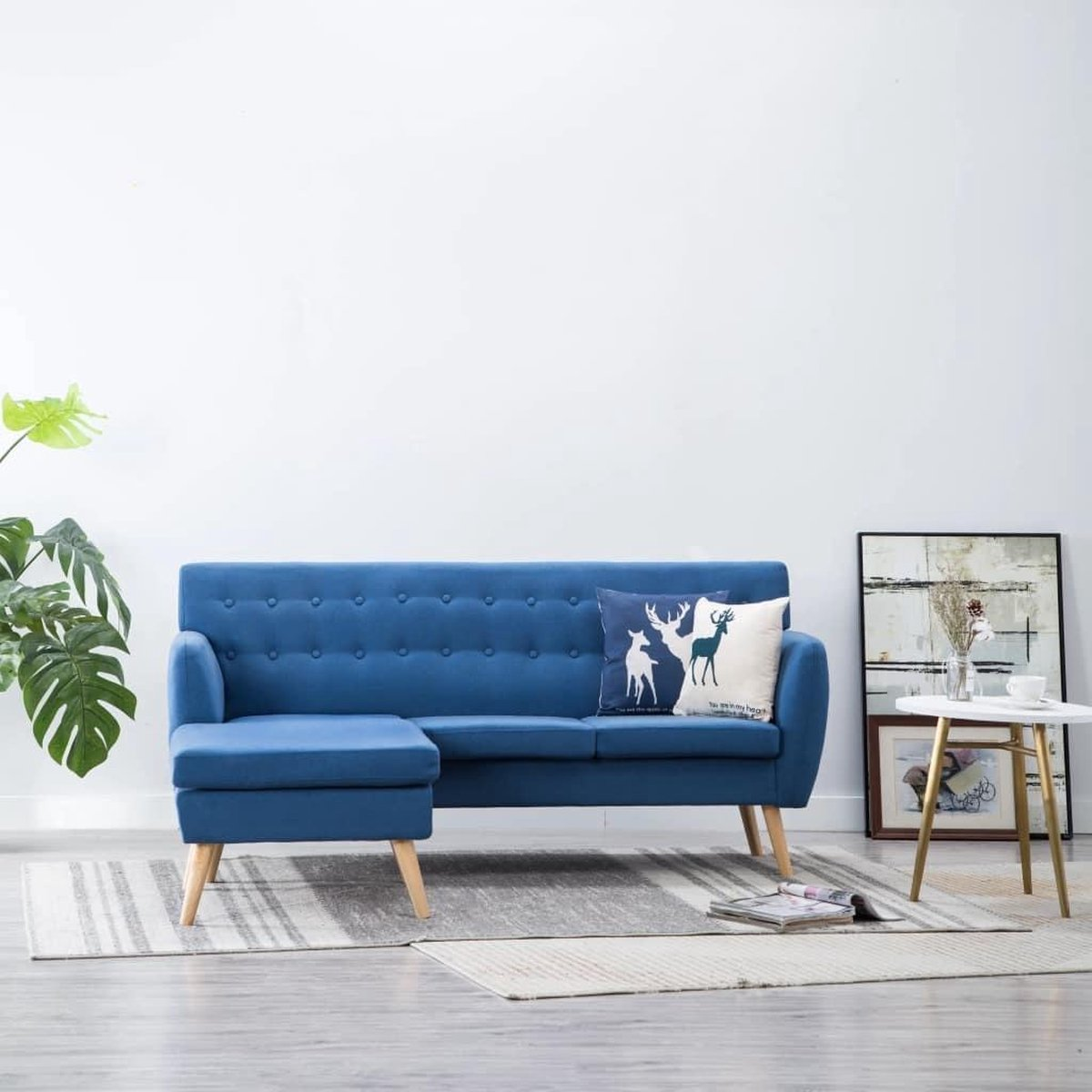 Bankstel 3 Zits Stof Blauw L Vorm Met Longchair Incl Fleece Deken Loungebank Woonkamer Bank Sofa Driezitsbank Zitbank Winkelen Nl