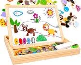 Magnetische Dieren Puzzel & Krijtbord - Alles in 1 Houten Speelbox