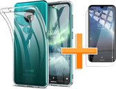 Nokia 7.2 Hoesje - Siliconen Backcover + Tempered Glas - Transparant