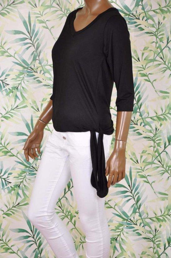 Jersey strikknoop top zwart - Maat S/M