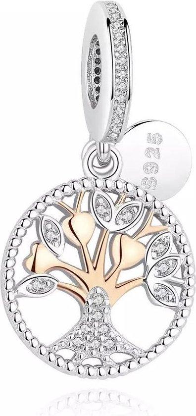 Zilveren bedel Geloof - Geluk - Familie  | Bedel Levensboom Zilver | Bedels Charms Beads | 925 sterling silver | net zo waardevol als pandora maar dan goedkoop | direct snel leverbaar | Tracelet