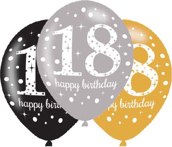 Ballonnen 18 Jaar Happy Birthday 27,5cm 6 stuks