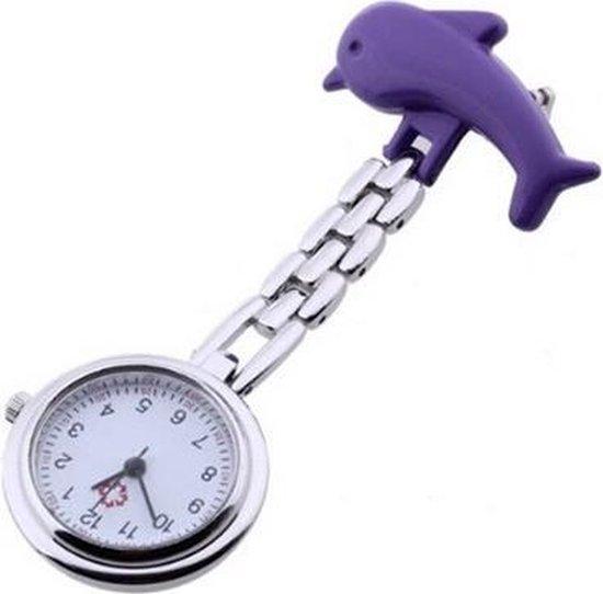 Treasure Trove® Lila Paars Dolfijn Verpleegster Horloge – Zusterhorloge – Dames ⌀ 25 mm