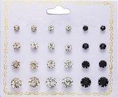 Fako Bijoux® - Oorbellen - Steker - Zirkonia - 3-8mm - Goud/Zilver/Zwart - 12 Paar