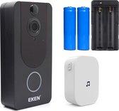 Eken - Video Deurbel V7 Zwart + Accu`s en Gong - Zeer hoge resolutie 1080p HD - Draadloze Deurbel