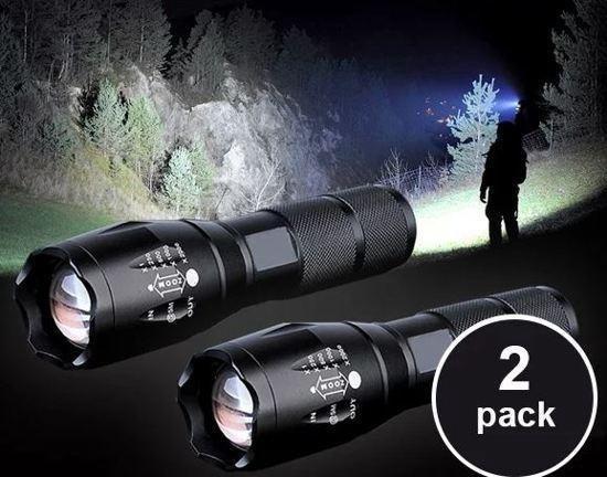 Militaire LED Zaklamp- 2000 Lumen - Zwart
