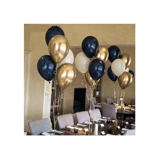 Ballonnen Donkerblauw - Goud - Wit | Effen | 10 stuks | Baby Shower - Kraamfeest - Verjaardag - Geboorte - Fotoshoot - Wedding - Marriage - Birthday - Party - Feest - Huwelijk - Jubileum - Event  - Decoratie | Luxe uitstraling | Kids