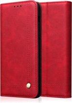 Let op type!! Casual stijl retro Crazy Horse textuur horizontale Flip lederen draagtas met kaartsleuven & houder & portemonnee voor Galaxy Note 10 (rood)