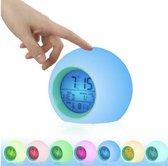 Wekker Digitaal -  Met GRATIS Batterijen- Multifunctionele Wekker Voor Kinderen - Wekker slaapkamer- Binnentemperatuur - Kalender -Nachtlampje LED - Aanraaksensor- 7 Geluiden - 7 Kleuren