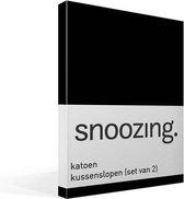 Snoozing - Katoen - Kussenslopen - Set van 2 - 40x60 cm - Zwart