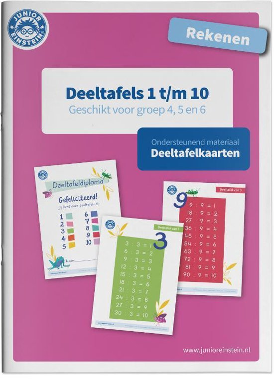 Deeltafelkaarten 1 t/m 10 rekenen geschikt voor groep 4, 5 en 6 - none |