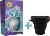 DivaCup Type 2 Herbruikbare Menstruatiecup met Magnetronsterilisator - Zwart